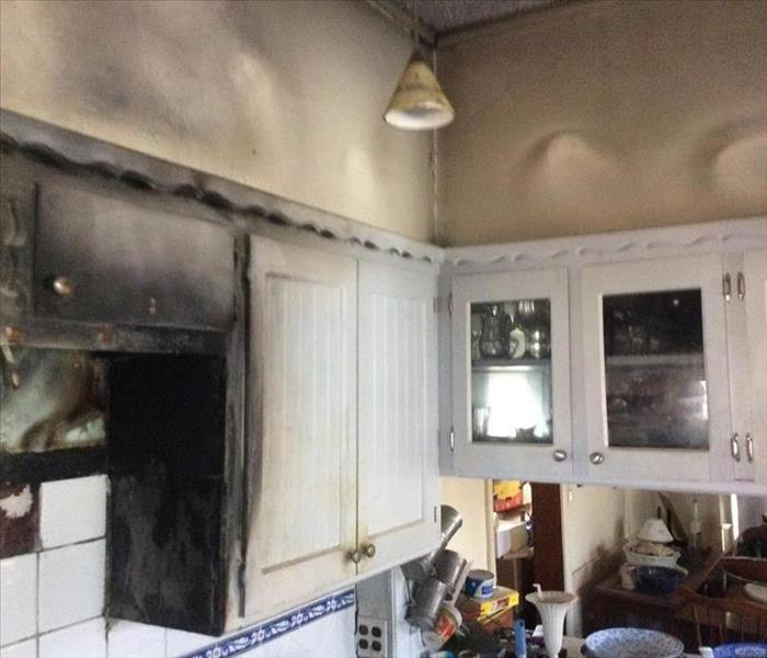 Burnt surfaces in kitchen after fire