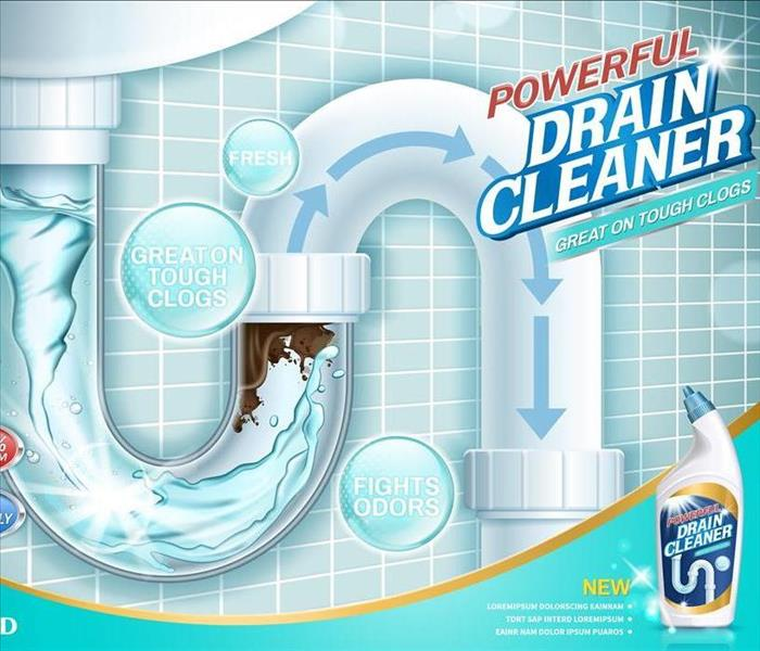 Drain cleaner ads, before and after effect in drain pipe, realistic detergent bottle isolated on blue background in 3d illust